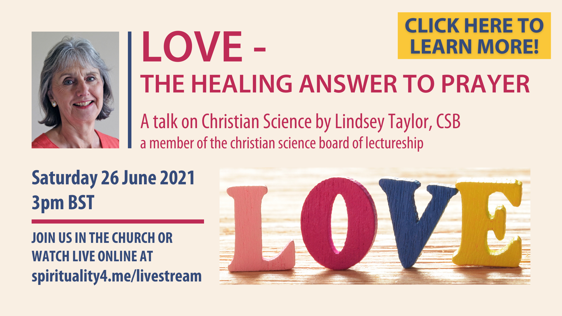 Lecture: Love – The Healing Answer to Prayer by Lindsey Taylor, CSB